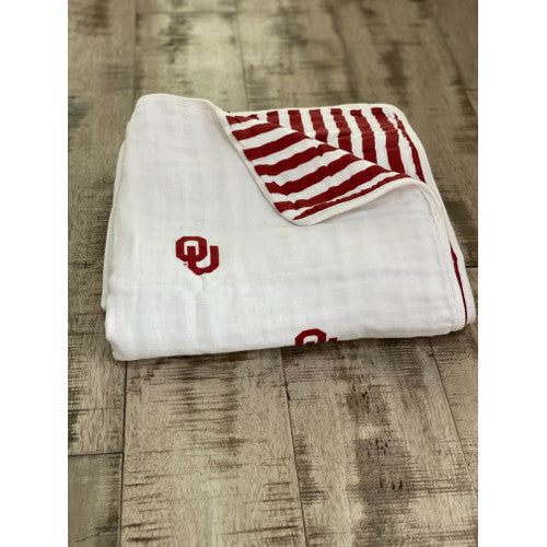 University of Oklahoma Four Layer Muslin Blanket