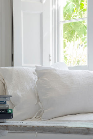 Handmade 100% Stone-Washed White Linen Pillowcase