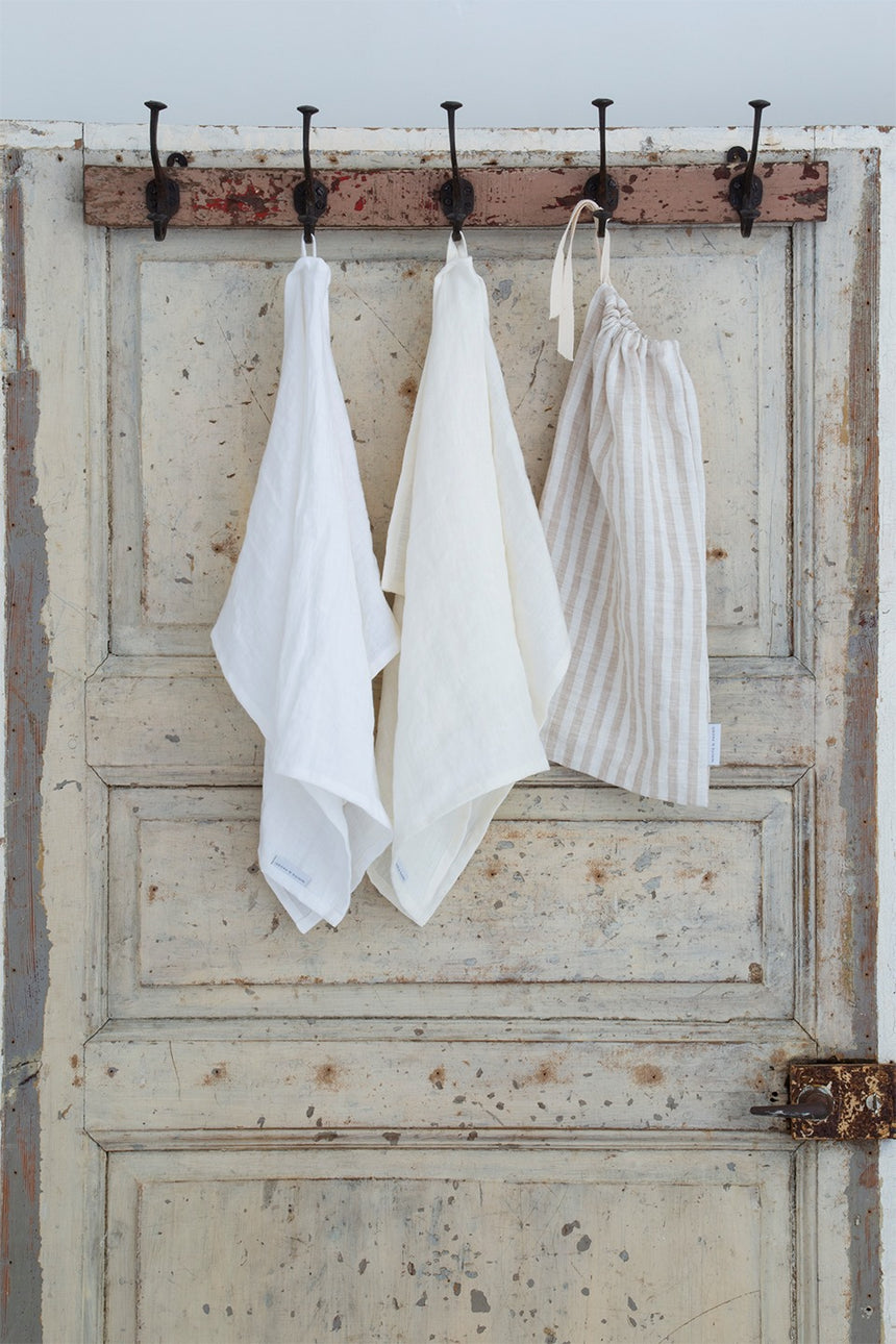 Linen tea towel, white