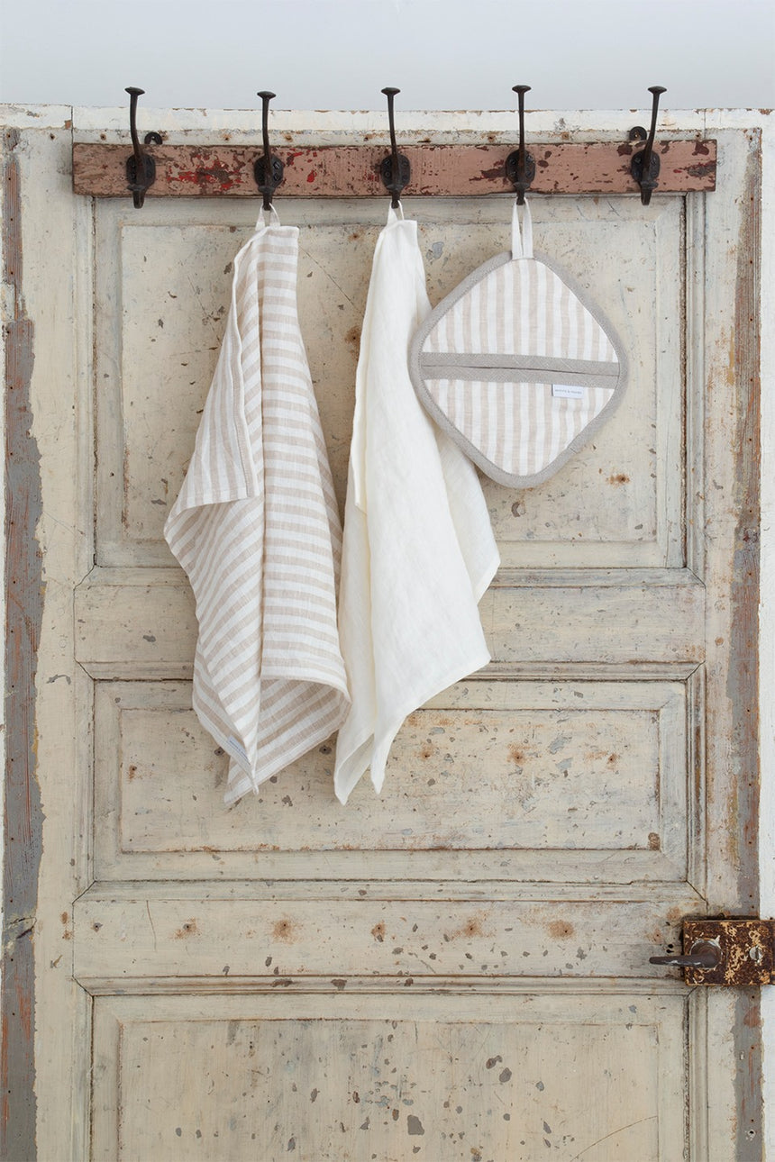 Linen oven mitt, natural stripe