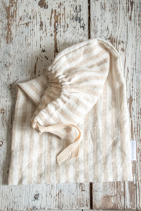 Linen bread bag, natural stripe