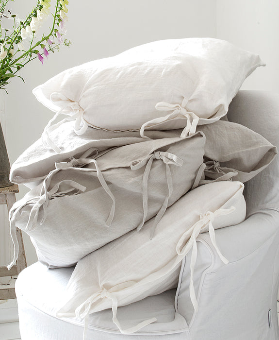 100% stone washed soft linen pillow case with skinny ties.  These beautiful pillows will add a lovely accent. in your home, on the sofa or on your bed and equally lovely on a daybed in the garden or lounge chairs.