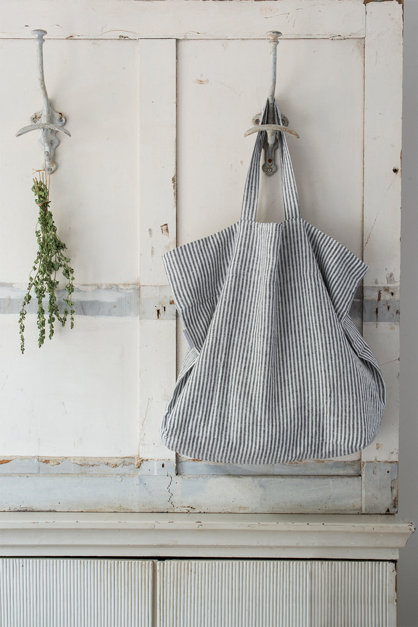Linen Tote Bag, Black Stripe