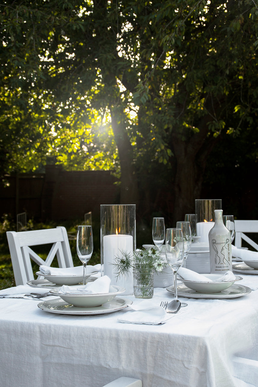 Linen Table cloth, white 2 sizes