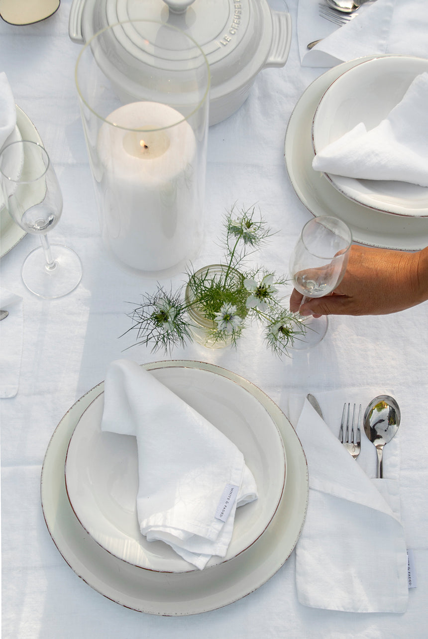 Linen Table Cloth, White