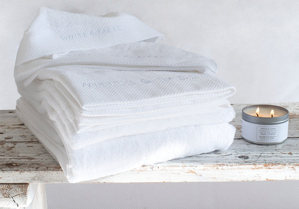 White & Faded Collection Cotton Towels