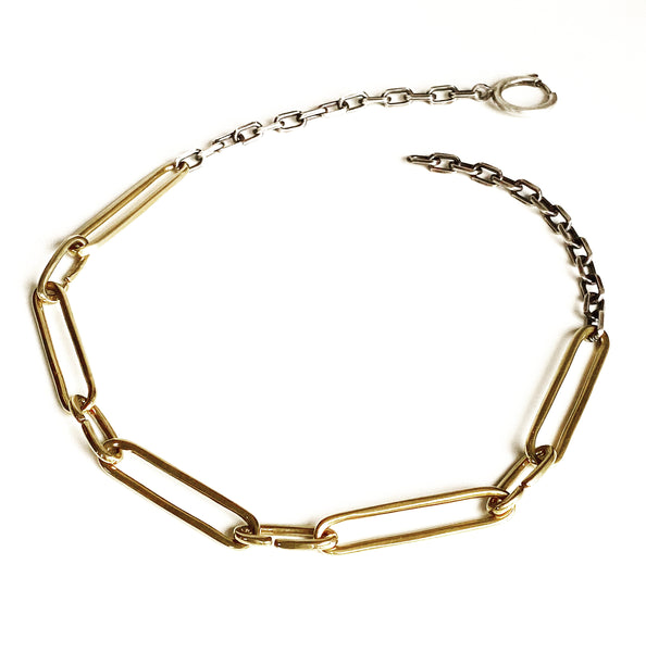 9 Lives, 9 Links Chain - bronze & sterling silver