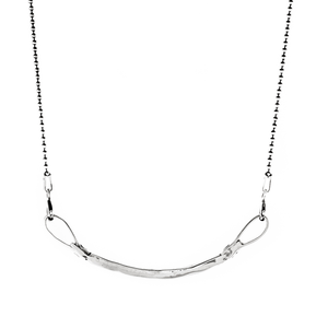 Curved Bar Necklace - silver
