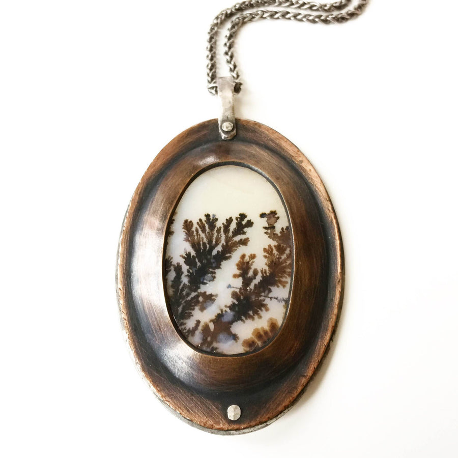 Framed dendritic agate - large oval