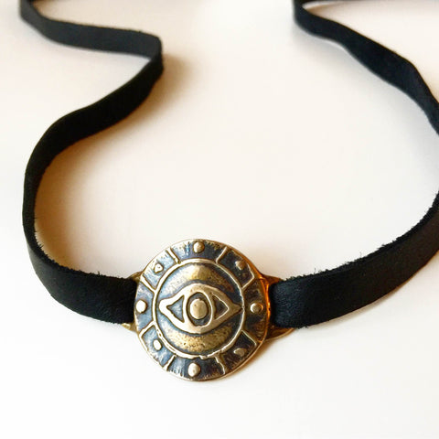 Eye medallion Leather Strap - Choker / Wrap Bracelet - Bronze