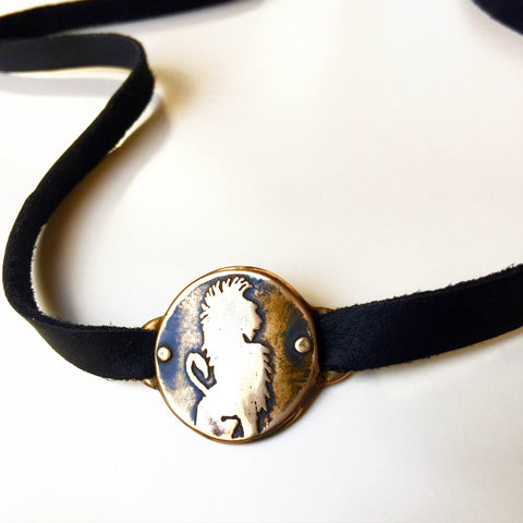 Lion Medallion Leather Strap - Choker / Wrap Bracelet - Bronze