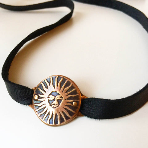 Sun Medallion Leather Strap - Choker / Wrap Bracelet - Bronze