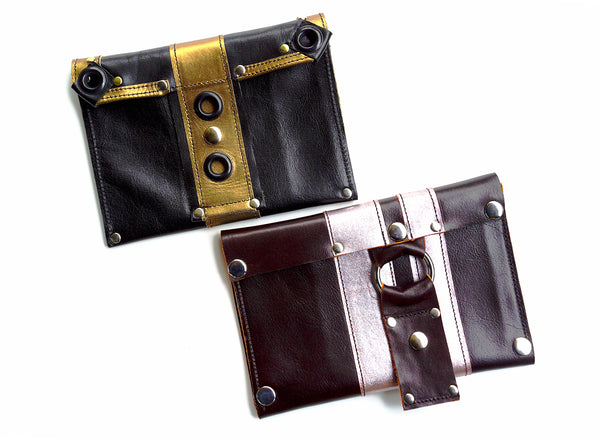 RacerX Wallets - Black & Gold, Burgundy & Metallic Pink
