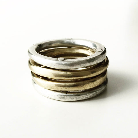 Quads - Rivet Stacking Rings 2 silver + 2 bronze