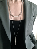 Long Bar Necklace - silver