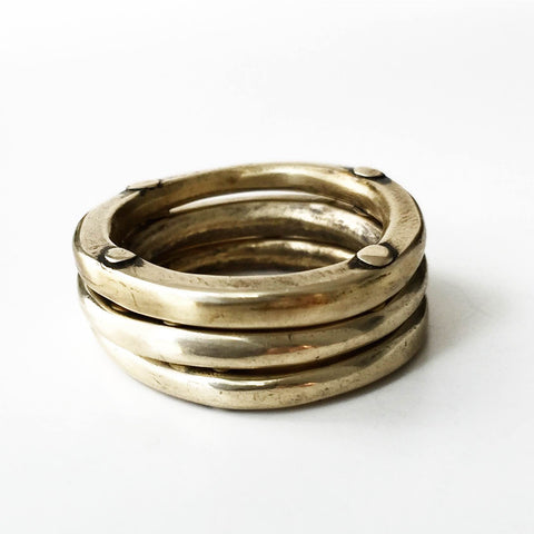 Triple Rivet Stacking Rings Bronze