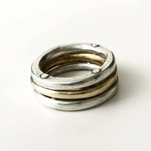 Triple Rivet Stacking Rings 2 silver + 1 bronze