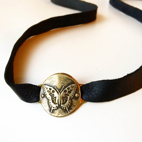 Butterfly Medallion Leather Strap - Choker / Wrap Bracelet - Bronze