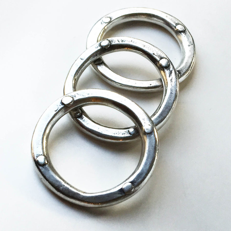 Triple Rivet Stacking Rings Silver