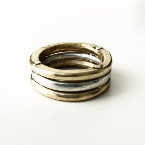 Triple Rivet Stacking Rings 2 bronze + 1 silver