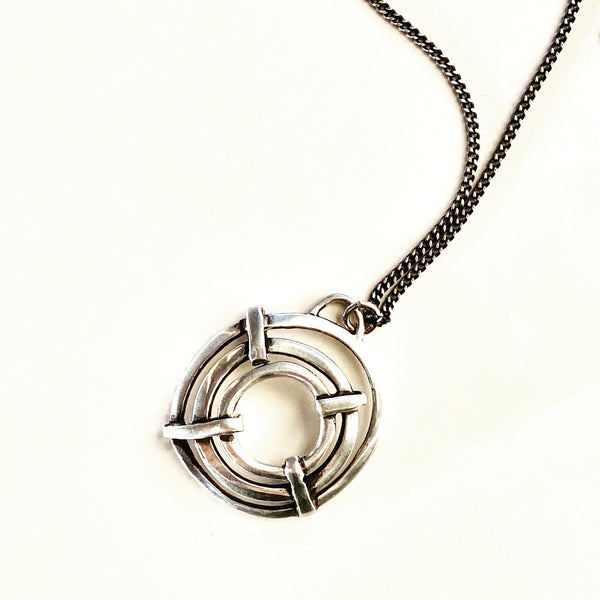 Wheels Shield - sterling silver