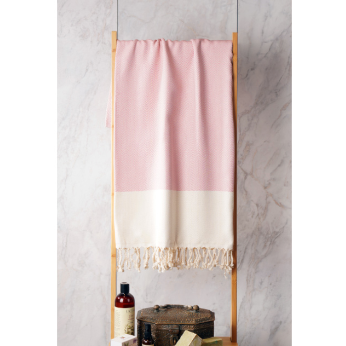 Turkish Towel - Pink and white