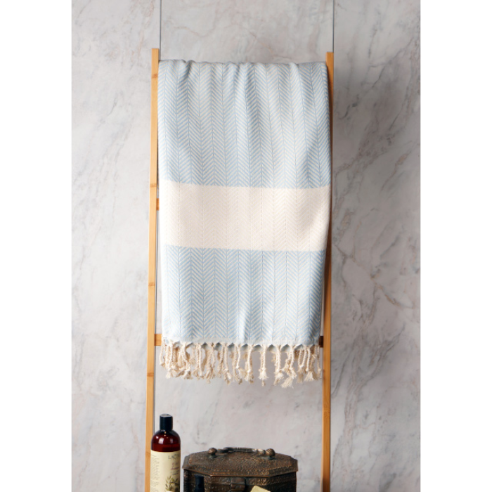 Turkish Towel - Blue and cream