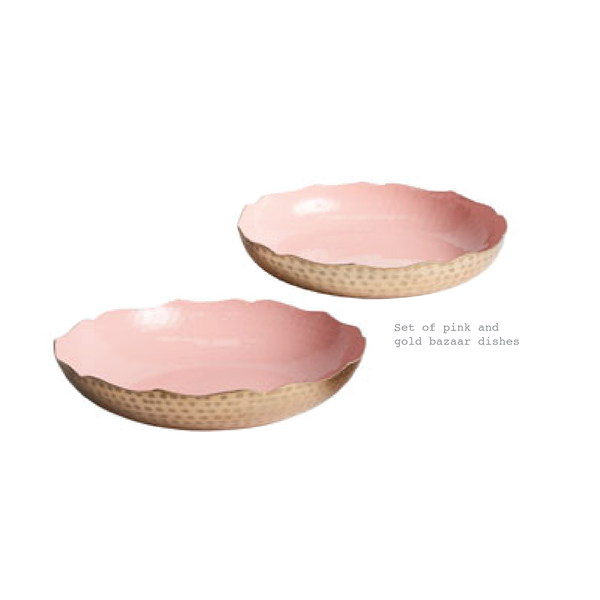 Set of 2 Pink and gold large plates - Sarah Urban