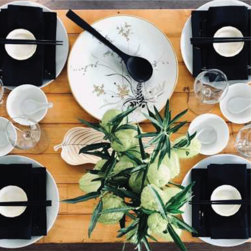 TABLE SETTING - Asian Classic - Dinner for 6