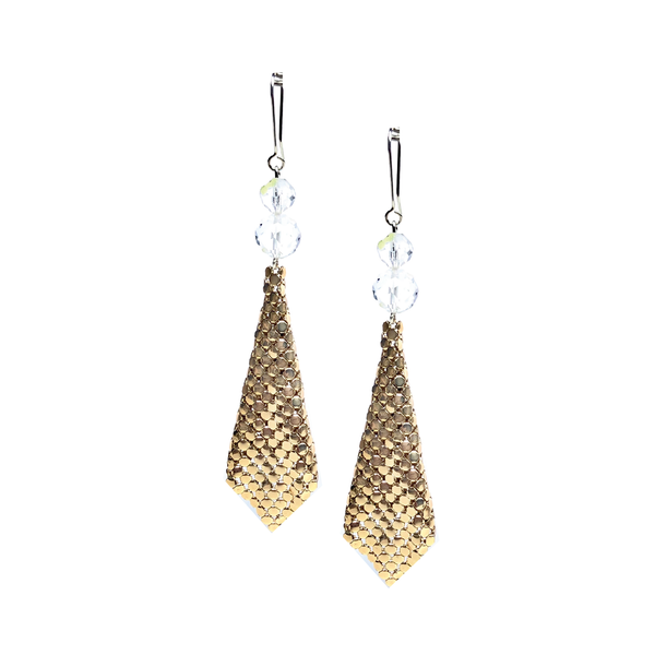 Crystal and Gold Glomesh earrings