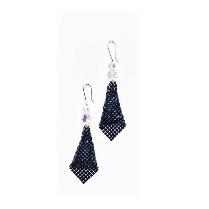 Crystal and Black Glomesh earrings - Sarah Urban