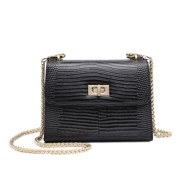 Black Evening Bag with Gold Chain - Sarah Urban