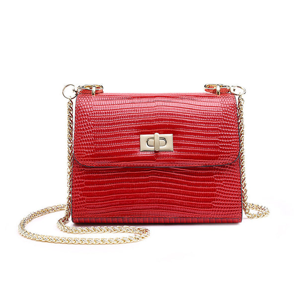Red Evening Bag with Gold Chain - Sarah Urban