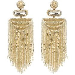 Gold Beaded Waterfall Earrings - Sarah Urban