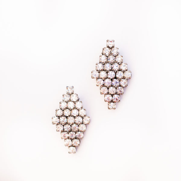 Vintage diamond shaped rhinestone earring - Sarah Urban