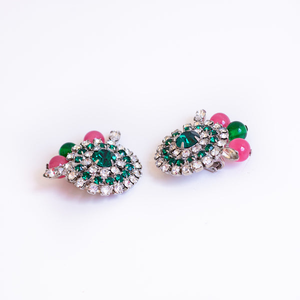 Vintage pink and emerald earrings