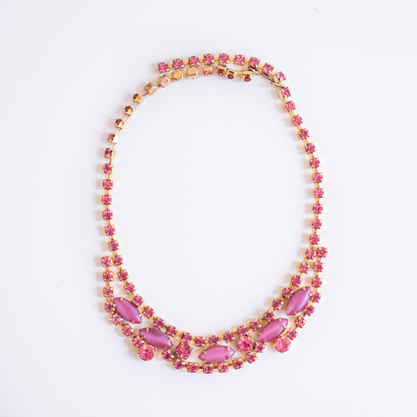 Vintage pink thermoset and rhinestone necklace