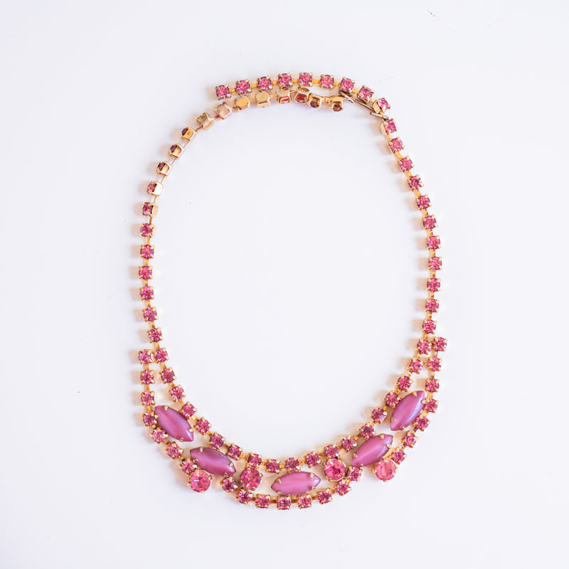 Vintage pink thermoset and rhinestone necklace - Sarah Urban