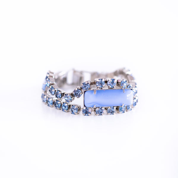 Vintage blue thermoset and rhinestone bracelet - Sarah Urban