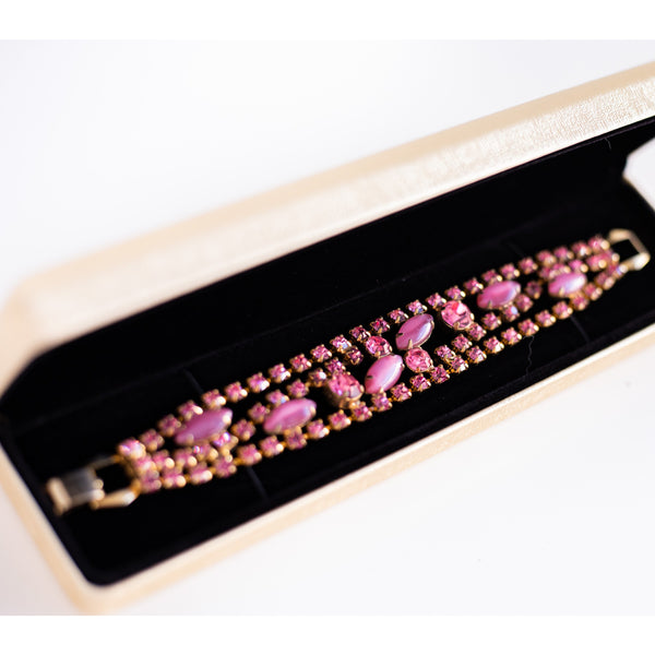 Vintage pink thermoset and rhinestone bracelet - Sarah Urban