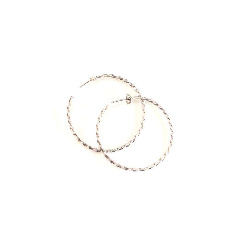 Twisted silver hoops - Sarah Urban
