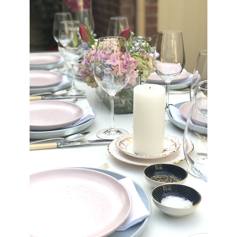 Pastel Dinner Perfection - table setting for 8 - Sarah Urban