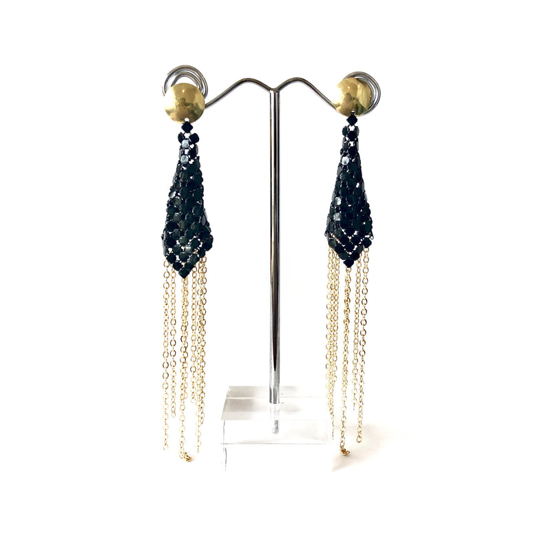 Black & Gold Glomesh earrings - Sarah Urban