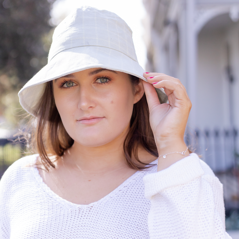Green and white check bucket hat - Sarah Urban
