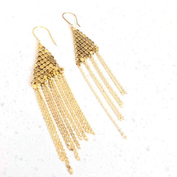 GOLD GLOMESH EARRINGS - Sarah Urban