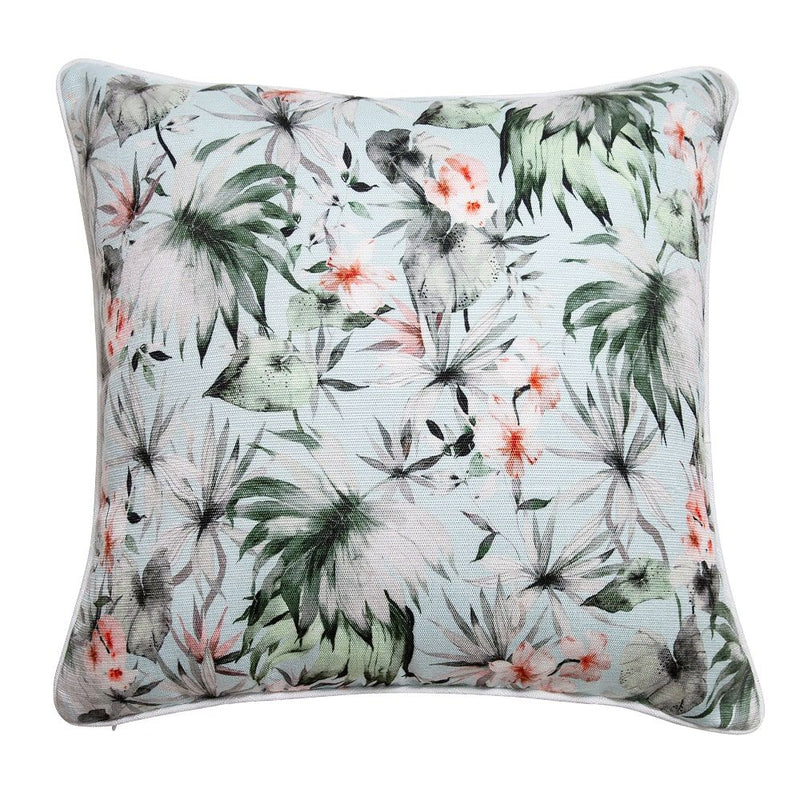 Pale Blue Fern Cushion - Indoor/Outdoor