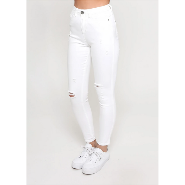 KYLIE HIGH WAISTED WHITE RIPPED JEAN - Sarah Urban