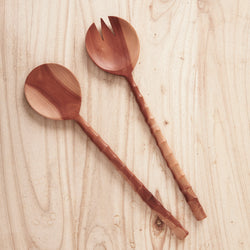 Large Recycled Sapodilla Wood Salad Servers - Sarah Urban