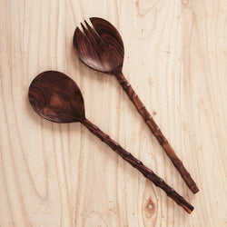 Large recycled wooden salad servers