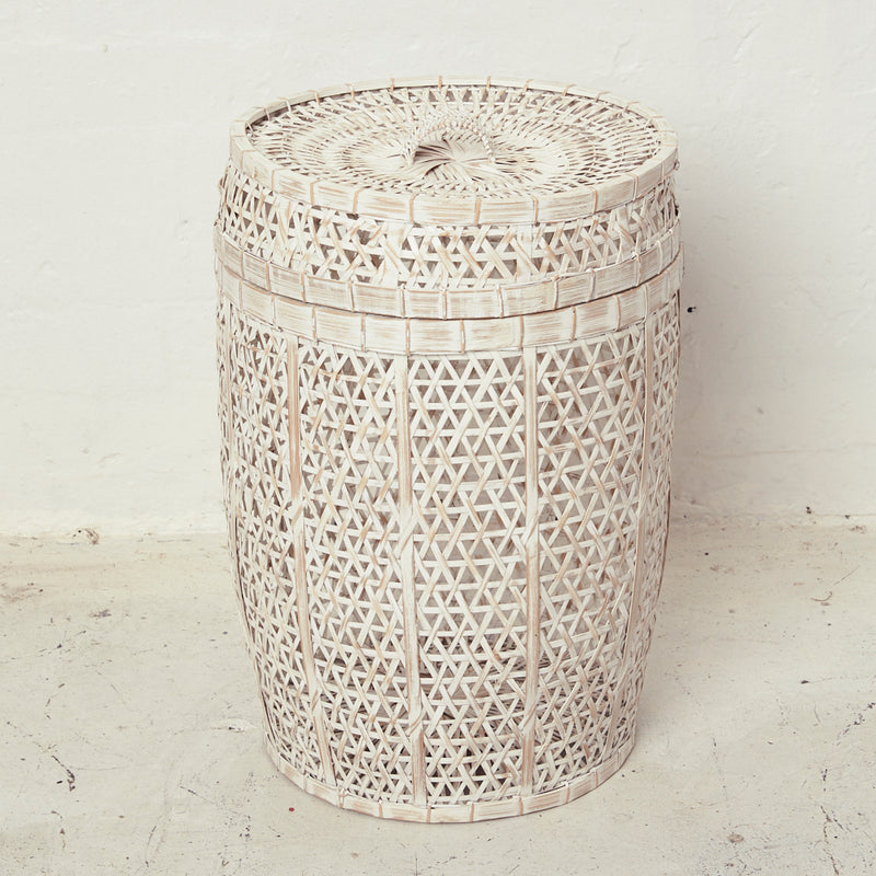 Whitewash Bamboo Laundry with Lid - ON BACKORDER - Sarah Urban